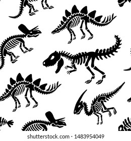Dinosaurs skeletons fossils seamless pattern. Original black print for T-shirts, textiles, web. Isolated on white background. Vector illustration