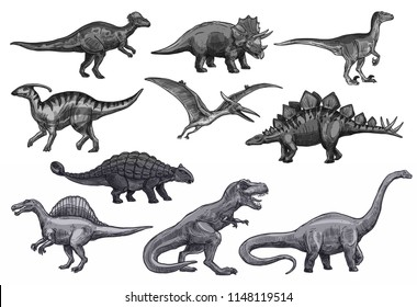 Dinosaurs sketch icons for Jurassic park design. Vector isolated set of triceratops or t-rex, brontosaurus or pterodactyl and stegosaurus, pteranodon or ceratosaurus and parasaurolophus