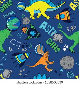 Dinosaurs in space hand drawn color vector seamless pattern.  Sketch  Jurassic reptiles. print for textiles, clothes, t-shirts, wrapping paper and more