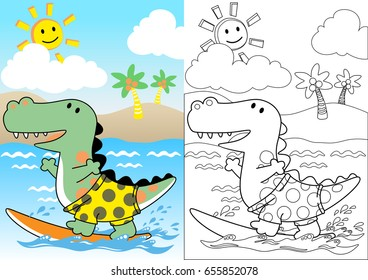 dinosaurs the surfer, coloring book or page, vector cartoon