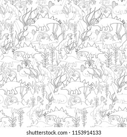 Dinosaurs and tillandsias seamless pattern for your design project, wallpaper, textile fabric or wrapping paper.  Funny dino and air plants harrissi