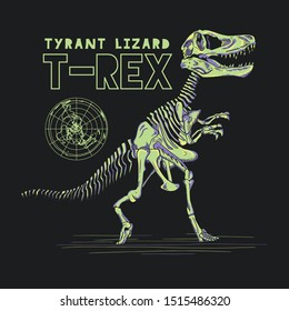 dinosaurs trex fossil vector graphic