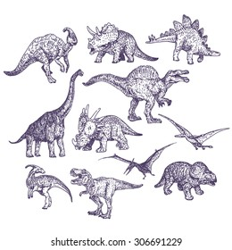 Dinosaurs vector drawings set