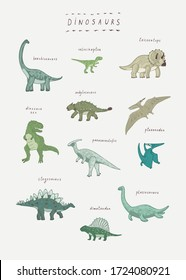 Dinosaurs vector hand drawn prnt for kids