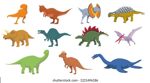 Dinosaurs vector illustration set in white background