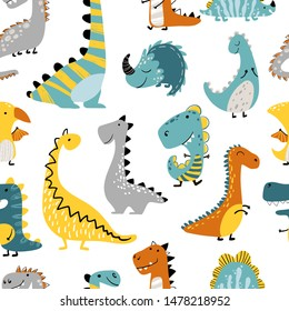 Dinosaurs Vector seamless pattern on a white background. Children's illustration in a funny cartoon style. Scandinavian hand-drawn background is ideal for children's clothing, textiles, wallpaper, etc