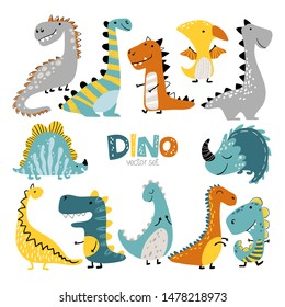 Dinosaurs vector set in cartoon scandinavian style. Colorful cute baby illustration is ideal for a children's room.