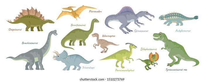 Dinosaurs vector Set isolated on white. T-Rex, Spinosaurus, Pteranodon, Ankylosaurus, Dilophosaurus, Parasaurolophus, Stegosaurus, Pteranodon, Brontosaurus, Velociraptor, Brachiosaurus, Triceratops.