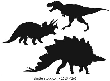 Dinosaurs vector Silhouettes, Tyrannosaurus T-Rex - large meat-eater dinosaur, Triceratops - horned dinosaur and Stegosaurus - plated dinosaur
