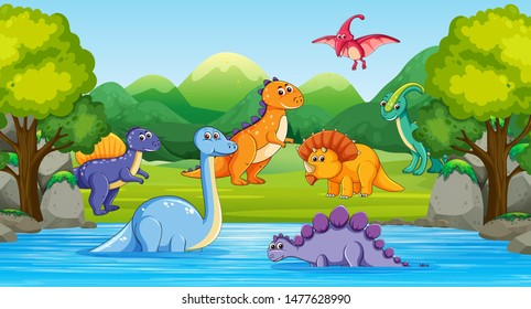Dinosaurs Wood Scene River Illustration Stock Vector Royalty Free 1477628990