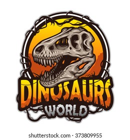 Dinosaurs world emblem with tyrannosaur skull. Colored isolated on white background