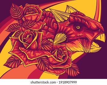 dinosaurus Ankylosaurus head with roses vector illustration design
