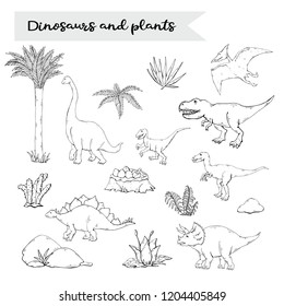 Dinosaurus set with plant isolated on a white background.Vector Velociraptor, Allosaurus, Stegosaurus, Tyrannosaurus, Triceratops, Brachiosaurus, Pterosaur.Jurassic Wildlife.Wild animals dinosaurus.