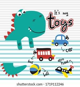 dinosaurus and toys funny animal cartoon,vector illustration