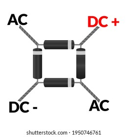 Diode Bridge Rectifier Component Symbol For Circuit Design in vector illustrator. This process is called rectification. black white diode bridge diagram. electronic components or parts. ac to dc.