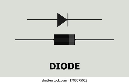 Diode, a semiconductor device Vector. Stock vector illustration on a white isolated background.
