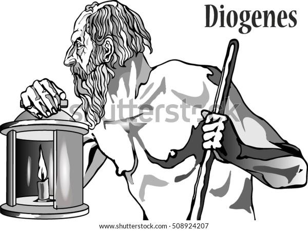 Diogenes Sinope Greek Philosopher One Founders Stock Vector