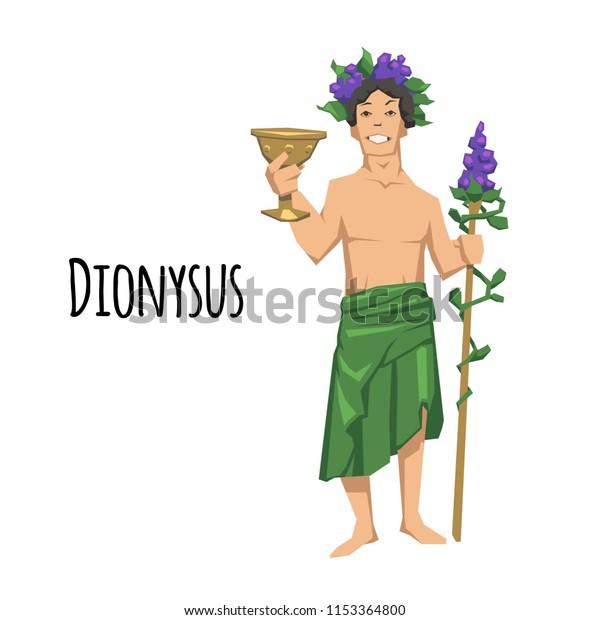 Dionysus Ancient Greek God Wine Ancient Stock Vector