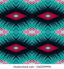 Dip Tribal Vector Seamless Pattern. Marine Boho Chevron Indian Texture. Scarlet Shibori Fabric Ornament. Cold Tie Dye Vintage Japanese Background. Japan Trendy Wallpaper