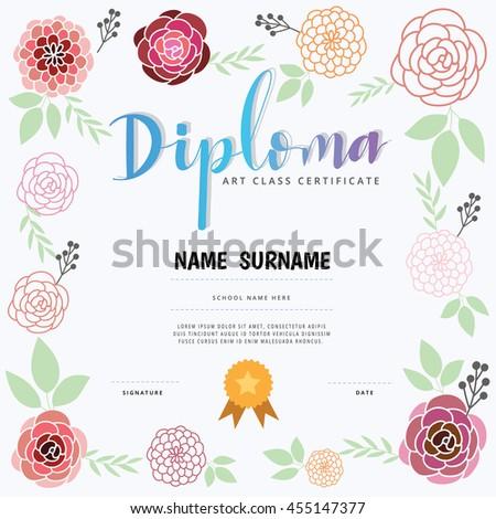 Diploma Art Class Certification Stock Vector (Royalty Free ...