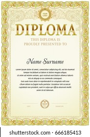 Diploma blank template with soft color design.