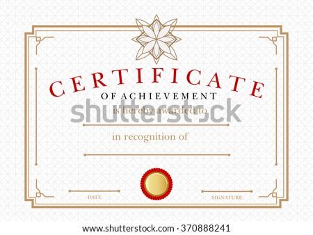 Diploma Certificate Achievement Award Winner Certificate Stock ...
