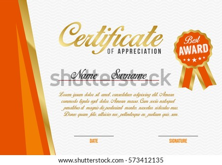 diploma certificate appreciation template background design stock
