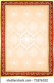 Diploma or Certificate frame and background, golden border and red decor, vector floral ornament