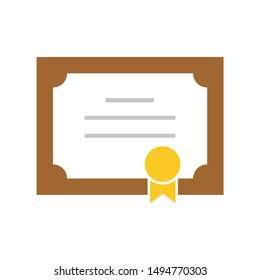 diploma certificate icon. flat illustration of diploma certificate - vector icon. diploma certificate sign symbol