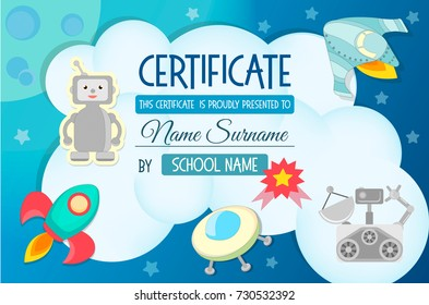 Diploma, the certificate of the teaching game on the theme of Cosmos for children at a children's competition, a holiday in a section, a school. Vector illustration EPS 10.
