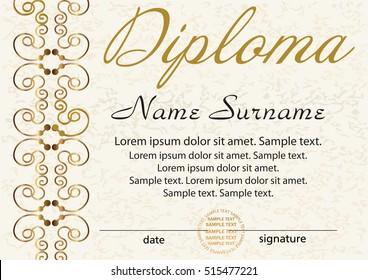 Diploma Certificate Template Award Winner Reward Stock Vector