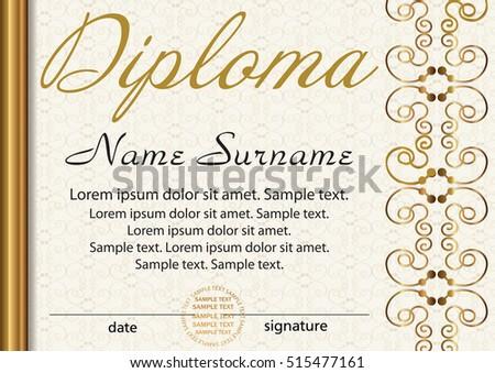 Diploma Certificate Template Award Winner Reward Stock Vector ...