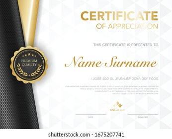 diploma certificate template black and gold color with luxury and modern style vector image, award suitable for appreciation.  Vector illustration.