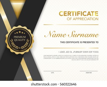 diploma certificate template black and gold color with luxury and modern style vector image.
