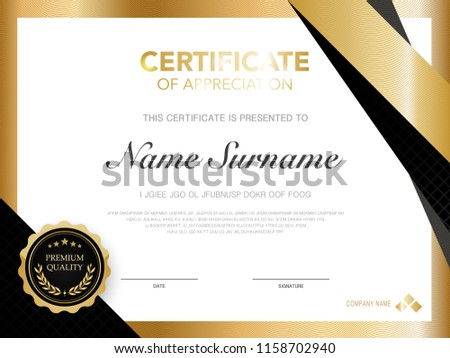 Diploma Certificate Template Black Gold Color Stock Vector Royalty