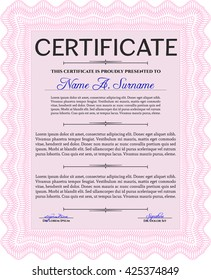 Diploma or certificate template. Complex background. Superior design. Vector pattern that is used in currency and diplomas.Pink color.