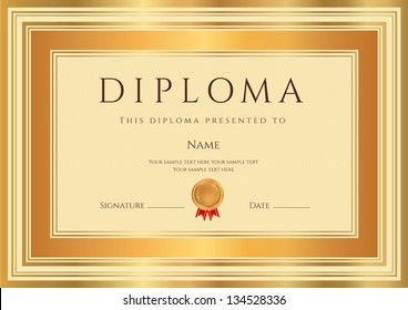 Diploma / Certificate template with guilloche pattern, bronze and gold border. Background design usable for invitation, gift voucher, coupon, official or awards. Vector of third place with medal