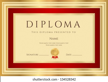 Diploma / Certificate template with guilloche pattern red and gold border. Background design usable for invitation, gift voucher, coupon, official or awards. Vector of first place with medal