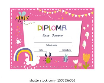 Diploma or certificate template for kids on colorful background with beetles and flowers for school, preschool or playschool. Vector illustration