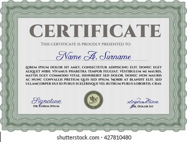 Diploma or certificate template. Lovely design. Vector illustration. With complex background. Green color.