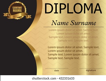 Diploma or certificate. Template on a gold background. Award winner. Reward. Winning the competition. The text on separate layers. Vector illustration.