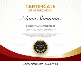 diploma certificate template red and gold color with luxury and modern style vector image.