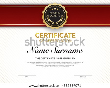 Diploma Certificate Template Red Gold Color Stock Vector Royalty