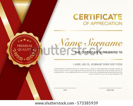 diploma certificate template red gold color のベクター画像素材