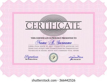 Diploma or certificate template. Vector pattern that is used in currency and diplomas.Complex design. With background.