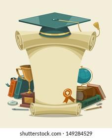 Diploma certificate. Vector illustration.