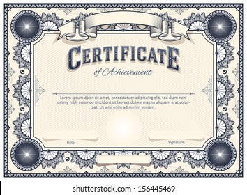 Diploma or Certificate Vector Template with Custom Typography