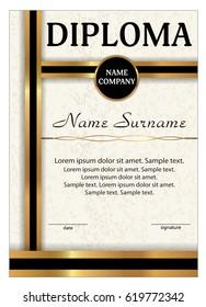 certificate appreciation diploma vertical template gold stock vector