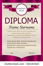 Diploma or certificate or vertical  template. The text on separate layers. Award winner. Reward. Winning the competition. Vector illustration.