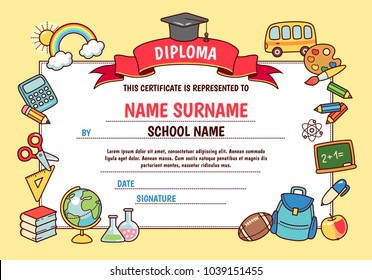 Diploma for elementary school. Cute template with frame of cartoon school objects and symbols on yellow background